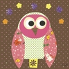 Mod Owl on Chocolate Canvas Wall Art