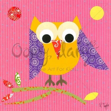 Mod Owl on Pink Canvas Wall Art