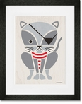 Modern Animals Pirate Kitty Framed Art Print