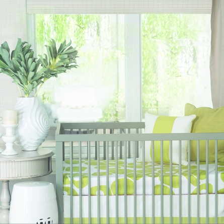 Modern Berries Crib Sheet in Spring Green