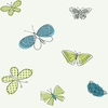 Modern Blue and Green Butterflies Wallpaper