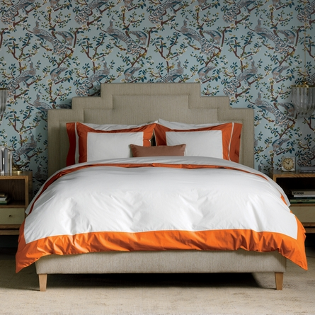 Quick Ship! Modern Border Pillowcase Pair in Tangerine