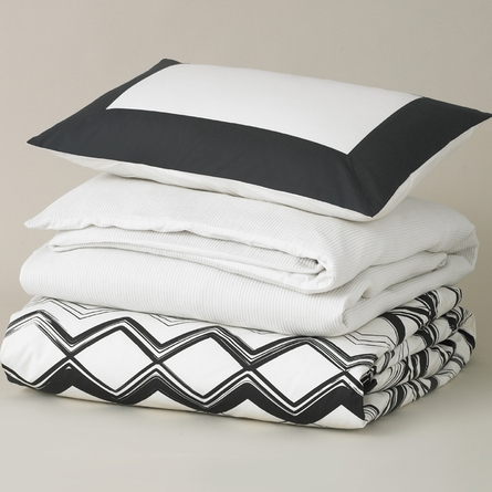 Modern Border Standard Sham Pair in Ink