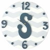 Modern Chevron Boys Initial Wall Clock
