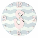 Modern Chevron Girls Initial Wall Clock