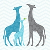 Modern Giraffes in Blue Canvas Wall Art