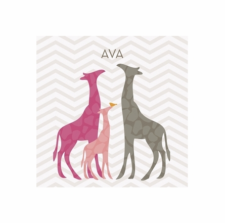 Modern Giraffes in Pink Canvas Wall Art
