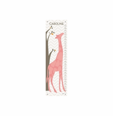 Modern Giraffes in Pink Growth Chart