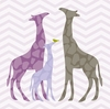 Modern Giraffes in Purple Canvas Wall Art