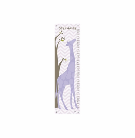 Modern Giraffes in Purple Growth Chart