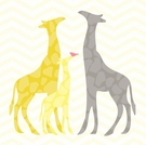Modern Giraffes in Yellow Canvas Wall Art