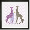 Modern Giraffes - Purple Framed Art Print