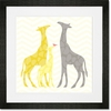 Modern Giraffes - Yellow Framed Art Print