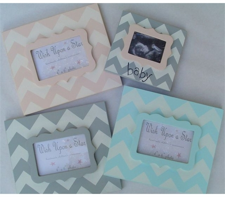 Modern Gray Chevron with Aqua Scallop Frame