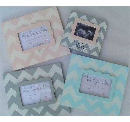 Modern Gray Chevron with Aqua Scallop Sonogram Frame
