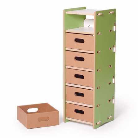 Modern Green and White 6 Drawer Organizer