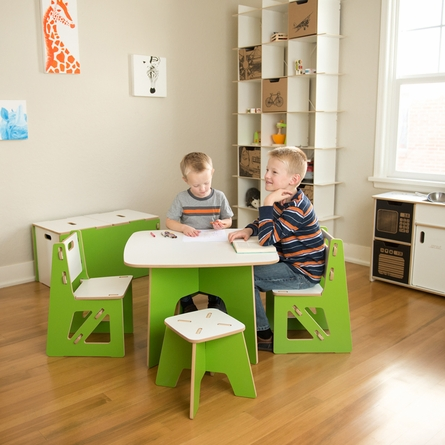 Modern Green and White Kids Table and Chair Set