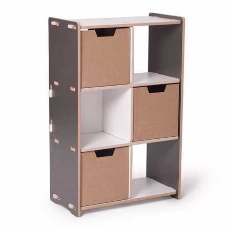 Modern Grey and White 6 Cubby Shelf