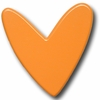 Modern Heart Orange Drawer Pull