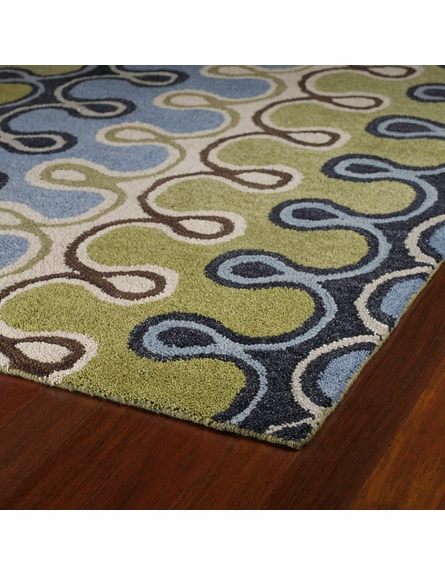 Modern Hook Rug in Blue