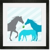 Modern Horses - Blue Framed Art Print