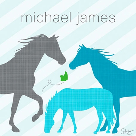 Modern Horses in Blue Canvas Wall Art