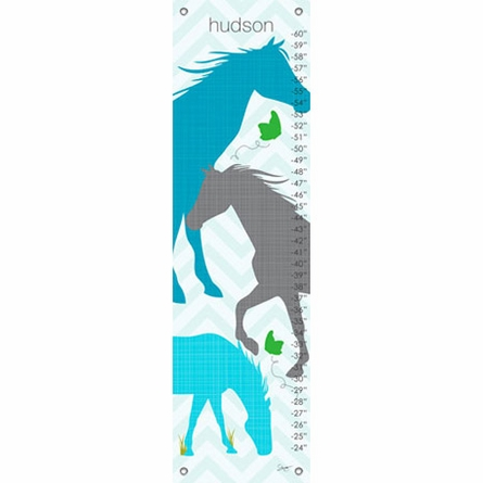 Modern Horses in Blue Growth Chart