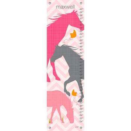 Modern Horses in Pink Growth Chart