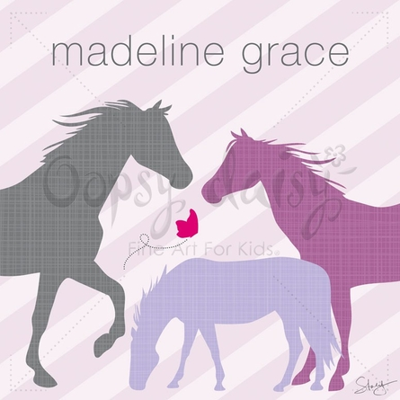 Modern Horses in Purple Canvas Wall Art
