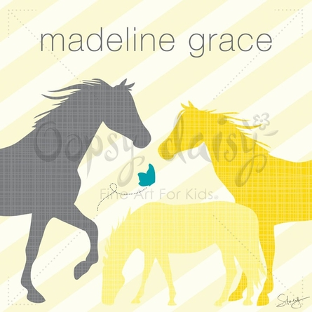 Modern Horses in Yellow Canvas Wall Art