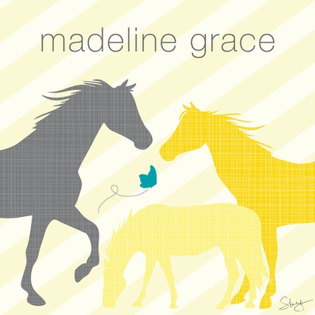 Modern Horses - Yellow Framed Art Print