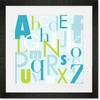 Modern Letters - Blue & Green Framed Art Print
