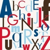 Modern Letters Red & Blue Canvas Wall Art