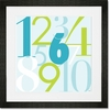 Modern Numbers - Blue & Green Framed Art Print