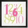 Modern Numbers - Pink & Green Framed Art Print