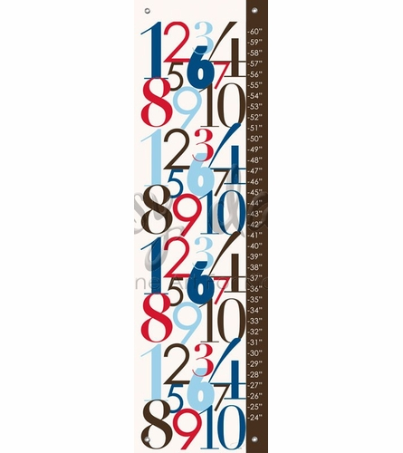 Modern Numbers Red & Blue Growth Chart