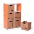 Modern Orange and White 6 Cubby Shelf