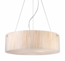 Modern Organics Five Light Pendant with White Sawgrass Material in Polished Chrome