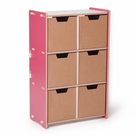 Modern Pink and White 6 Cubby Shelf