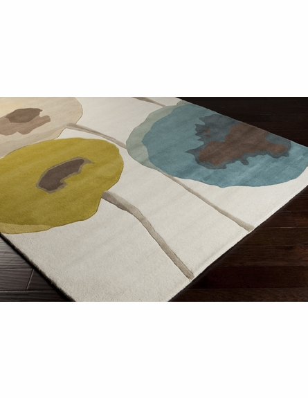 Modern Poppies Rug in Blue and Olive