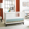 Modern Snow White Convertible Island Crib with Espresso Base