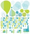 Modern Train and Balloons Peel & Place Wall Stickers