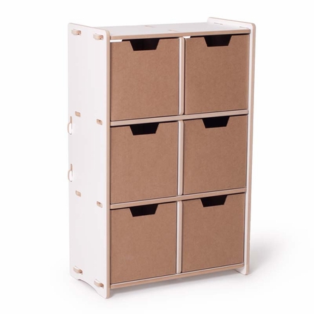 Modern White 6 Cubby Shelf