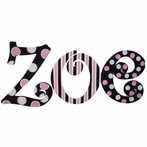 Modern Zoe Pink and Black Hand Painted Wall Letters