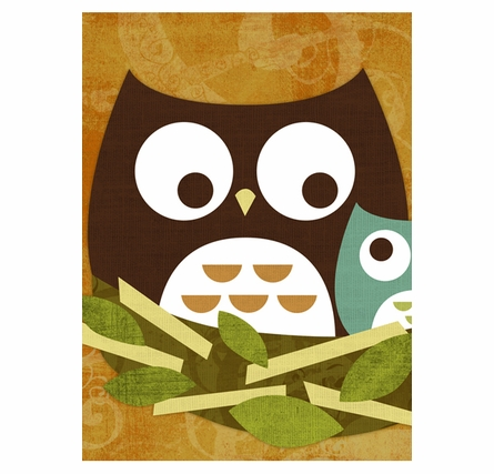 Mom And Baby Owl Canvas Reproduction