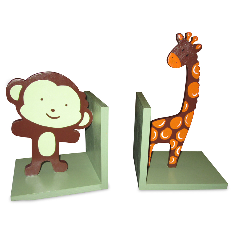 Monkey And Giraffe Hand Painted Bookends