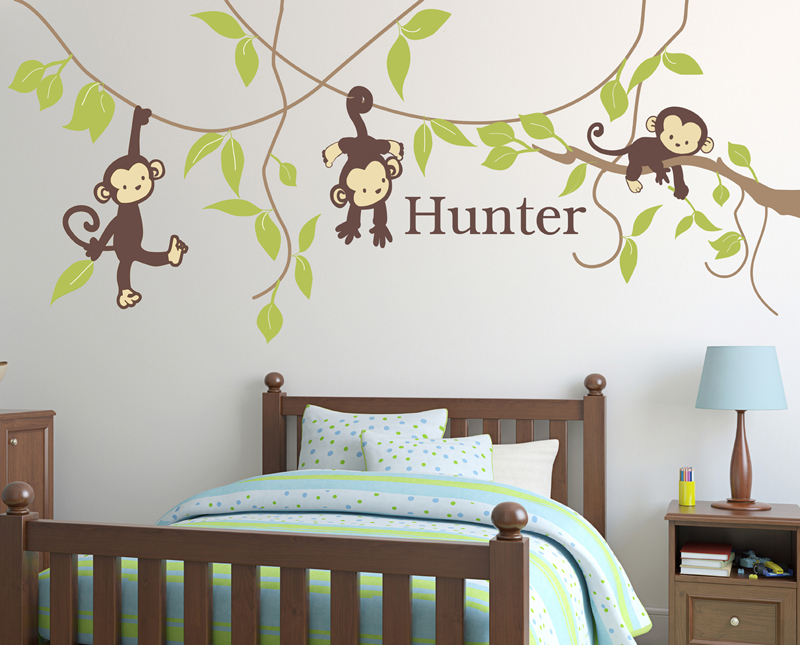 rooms pick your color custom monkey around fabric wall decal
