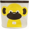 3 Sprouts Monkey Canvas Storage Bin