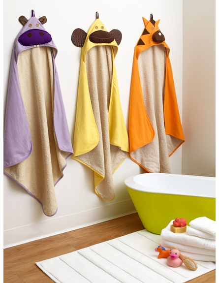 3 Sprouts Monkey Gray Cotton Hooded Towel