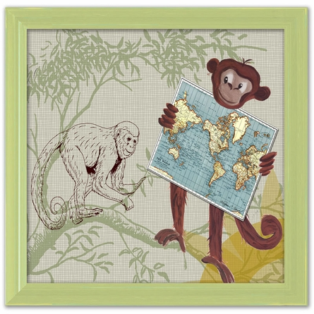 Monkey Safari Canvas Reproduction